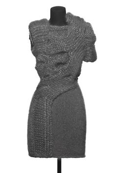 Sandra Backlund Multi Texture Knit Dress From Collection - Pure unadulterated genius. Knitwear Fashion, Knit Fashion, Fashion Women, Knit Dress, Dress Skirt, Sweater Dresses, Sandra Backlund, Knitting Designs, Mode Style