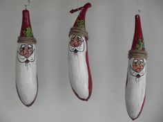 Santa banana gourd ornament by GourdSilly on Etsy, $9.95