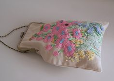Hand Bag flowers Vintage Shabby chic needlework hand by OlgaHengst