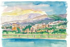 """Saatchi Art is pleased to offer the painting, """"Malaga Port View Of City And Alcazaba Fortress,"""" by M Bleichner, available for purchase at $369 USD. Original Painting: Watercolor on Paper. Size is 7.9 H x 11.8 W x 0.4 in. Original Paintings For Sale, Original Artwork, Malaga Spain, Art Watercolor, City Painting, Impressionism Art, Sunsets, Buy Art, Paper Art"""