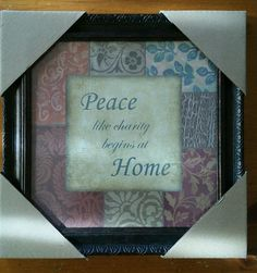 "Peace  Home Wall art Decor  bed & bath pictures  10""x10""  