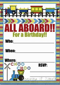 Cute Train Birthday Party Invitation-free download.
