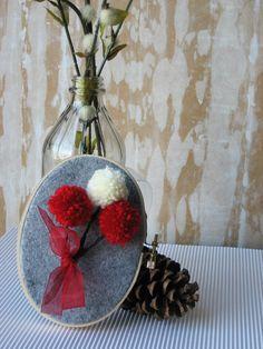 Mini Embroidery Hoop Wall Art Ruby Red Sweet Heart