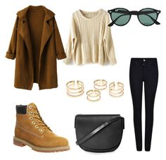 """""""Untitled #514"""" by aatk on Polyvore featuring Armani Jeans, Topshop, Timberland, WithChic, Ray-Ban, women's clothing, women, female, woman and misses"""