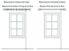 There are different ways to measure for curtains based on their heading style. Bedroom Curtains With Blinds, Curtains Behind Bed, Long Shower Curtains, Yellow Curtains, Floral Curtains, Rod Pocket Curtains, Curtains With Rings, Hanging Curtain Rods, Decorative Curtain Rods