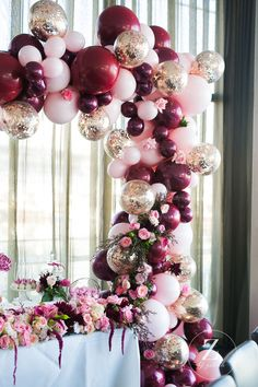 Gorgeous Balloon Arch in pink, gold and burgundy