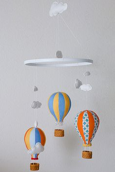 Hot Air Balloon Mobile Baby Child Mobile Custom by leschnulli, $115.00