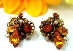 Vintage MIRIAM HASKELL Rhinestone Filigree Flower Clip Earrings Unsigned #Unbranded #Cluster