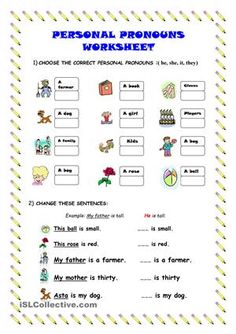 I'ts a simple exercise about Pronouns. :D thanks fot downloading it. - ESL worksheets