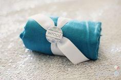 aqua pashmina with 'wrap!' button fro engage!12 Mandarin Oriental gifting