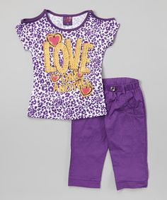 Look what I found on #zulily! Purple Leopard 'Love' Tee  Pants - Infant, Toddler  Girls by Coney Island Kids #zulilyfinds
