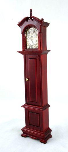 Dolls House Miniature 1:12 Scale Furniture Victorian Grandfather Clock Mahogany