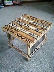 Hockey sticks; saw a chair like this too. So wanna make this for the brothers