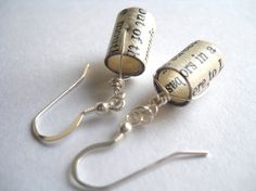 Bookworm earrings made from old books by TheUnwrittenWord on Etsy