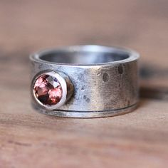 Silver gold zircon ring  one of a kind wide rustic by metalicious, $340.00