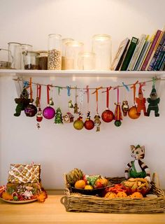 great idea for the extra ornaments that don't fit onto the tree.....maybe across the mantle.