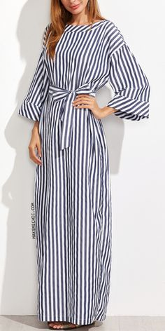 Belted Slit Sleeve White Button Detail Midi Dress