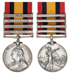 QUEEN'S SOUTH AFRICA MEDAL 1899, (type 3 reverse), - four clasps - Cape Colony, Orange Free State, Transvaal, South Africa… / MAD on Collections - Browse and find over 10,000 categories of collectables from around the world - antiques, stamps, coins, memorabilia, art, bottles, jewellery, furniture, medals, toys and more at madoncollections.com. Free to view - Free to Register - Visit today. #Medals #Orders&Decorations #MADonCollections #MADonC Regina Victoria, Cape Colony, Free State, Type 3, South Africa, Bottles, Mad, Stamps, Coins