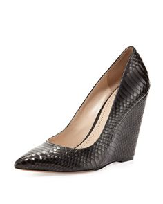 Lozanne Snake-Embossed Wedge Pump, Black by Pour la Victoire at Neiman Marcus.