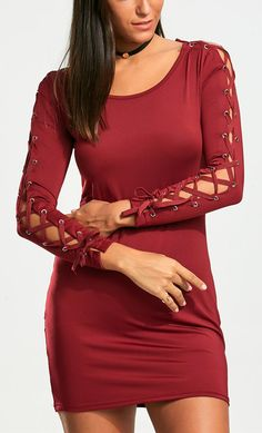Lace Up Long Sleeve Bodycon Mini Dress