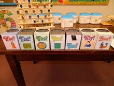 Hands On Bible Teacher: Who? What? When? Where? Where? Why? and How? Review Game.  Boxes are up cycled tissue boxes.