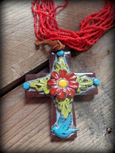 Bold Western Clay Cross Necklace by GrittynPretty on Etsy, $42.00