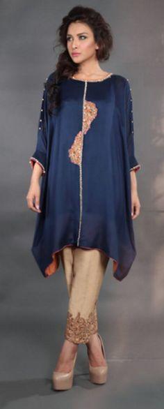Blue embroidered cape kurti