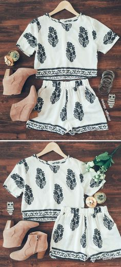 Bohemian Boxy Crop Top Shorts Matching Sets | You can find this at => http://feedproxy.google.com/~r/amazingoutfits/~3/VoCMftwZ7ZE/photo.php