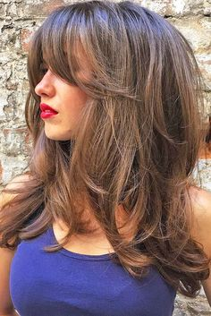 30 Long Haircuts & Hairstyles For Women To Look Gorgeous - Hair Styles 2019 Bride Hairstyles, Hairstyles With Bangs, Cool Hairstyles, Layered Hairstyles, Long Hairstyles With Layers, Formal Hairstyles, Hairstyles For Double Chin, Long Haircuts With Bangs, Center Part Hairstyles