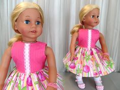 Girl Doll Clothes, Girl Dolls, Hot Pink Tops, Journey Girls, Doll Wardrobe, Doll Shoes, Stripe Skirt, 18 Inch Doll, American Girl