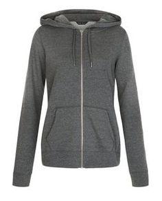 Dark Grey Basic Zip Up Hoodie | New Look
