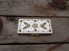 Vintage Guilloché Enamel White With Rhinestone Designs, Brass Rectangle Hinged Trinket Box by TiesofMyFather on Etsy