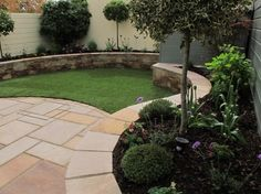 Lawn edged with beautiful low wall