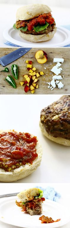 Try a peach-chutney-topped lamb burger, enlivened with feta.