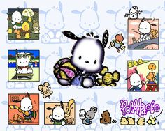 ... Pochacco. Fondos de escritorio de Manga Y Anime Pochacco Pochacco Sanrio, Hello Kitty Characters, Flower Backgrounds, Snoopy, Scrapbook, Duffy, Planner Ideas, My Favorite Things, Hearth