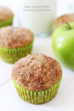 Healthy whole wheat zucchini muffins made with apples. The right amount of sweet and wholesome, these kid-approved apple zucchini muffins freeze well and are great for breakfast or snack time. A great way to use up your summer zucchini! Apple Zucchini Muffins, Zucchini Muffin Recipes, Healthy Muffins, Apple Muffins, Healthy Zucchini, Apple Recipes, Baby Food Recipes, Baking Recipes, Dessert Recipes