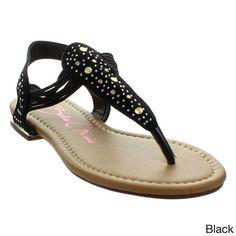 6ef8990de Anna Women s  Marie-1  Rhinestone Stud T-strap Slingback Flat Gladiator  Sandals