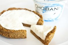 Individual Protein Cheesecake for breakfast?? Using Chobani & cheesecake flavored pudding mix. Crust is fiber bran cereal & almond butter (plus seasoning). YES! I want.