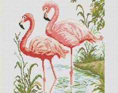 Cross stitch pattern PDF Flamingo by UAHomeMadeStudio on Etsy Cross Stitch Bird, Cross Stitch Animals, Cross Stitch Designs, Cross Stitching, Cross Stitch Patterns, Ribbon Embroidery, Cross Stitch Embroidery, Embroidery Patterns, Needlework