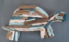 Small Painted Driftwood Turtle Upcycled by MermaidsMasterpiece