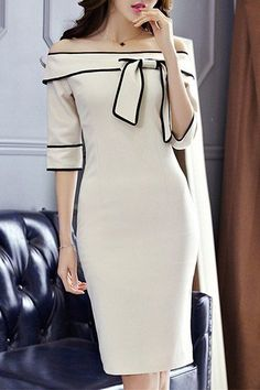 Graceful Off-The-Shoulder Bowknot 3/4 Length Sleeves Dress For Women