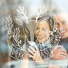 Teken dit merry x-mas hert op je raam met behulp van het sjabloon van christmas. Christmas Feeling, Christmas Time, Christmas Crafts, Ideas Decoracion Navidad, Illustration Noel, Christmas Window Decorations, Boutique Deco, Christmas Chalkboard, Drawing Templates