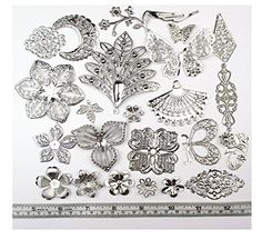 ALL in ONE Mixed Platinum Filigree Charm Pendant Jewelry Findings: 50g/55pcs ( Silver Filigree Charm) All In One $7.99