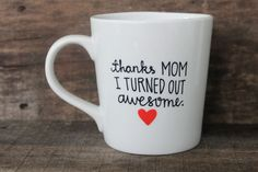 Thanks Mom Coffee Mug Hand Painted by MorningSunshineShop on Etsy