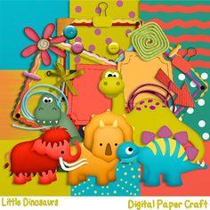 Digital Scrapbook Kit   Little Dinosaurs by DigitalPaperCraft, $5.00