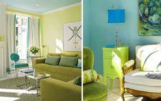 Blaue und Grüne Innendesings - originelle, farbenreiche Vorschläge