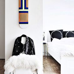 """15 Things You'll Find In EVERY Fashion Girl's Apartment #refinery29  http://www.refinery29.com/fashion-home-decor-items#slide6  """"Sporting"""" Goods On Display  This Céline-inspired skateboard doesn't even have wheels!"""