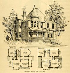 1873 print house home architectural design floor plans victorian