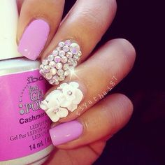 Love these nails! But I would just get silver glitter on the middle finger instead of jewels.