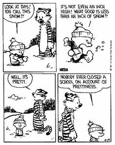 Calvin & Hobbes - for the first time that I can remember since MY junior year of highschool.. all schools were closed!